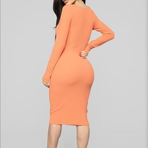 Happy Daze Ribbed Mini Dress - Peach